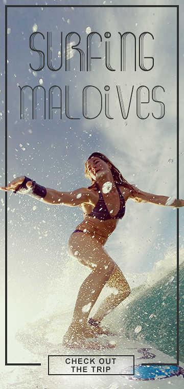 Lisa Veith surfing Maldives
