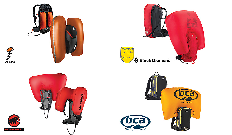 Airbag systems from ABS, Pieps, Black Diamond, BCA and Mammut