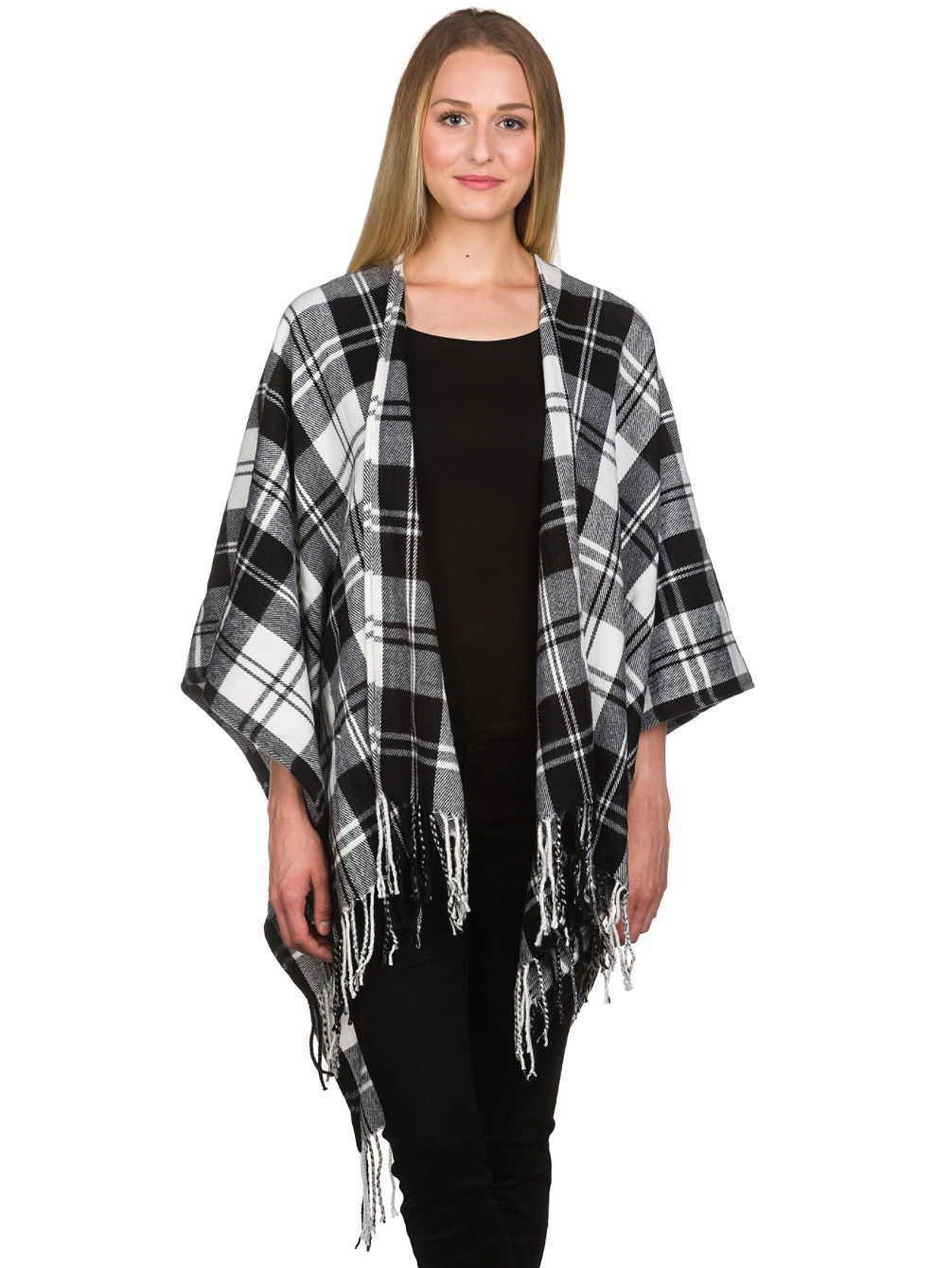Kelley Blk&Wht Plaid Kimino
