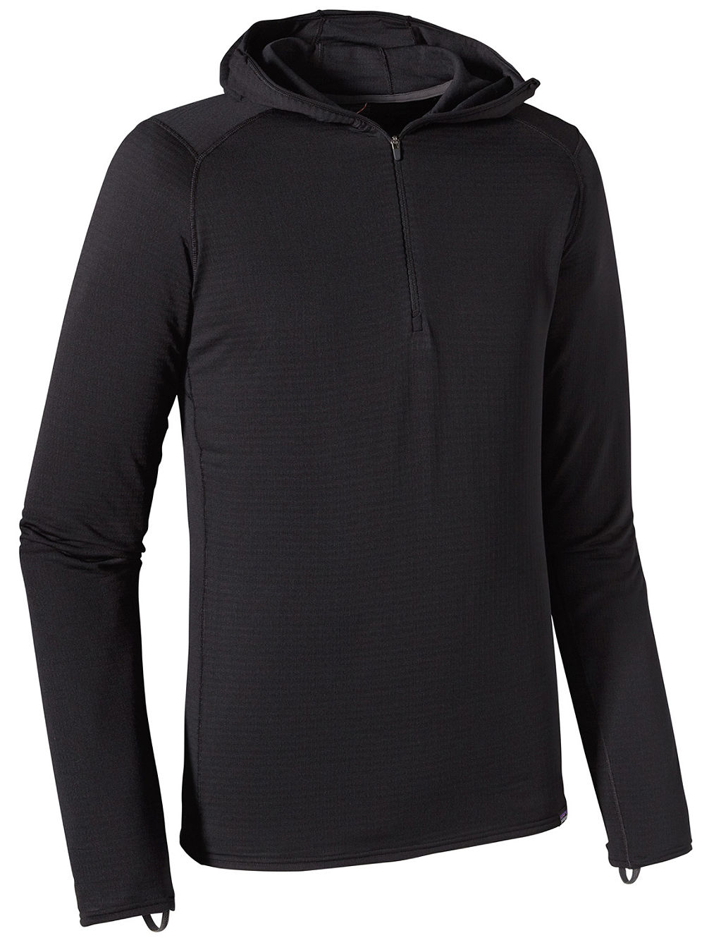 Cap Tw Zip Neck Hooded Tech Tee LS