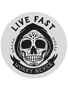 Live Fast Worry Never Sticker
