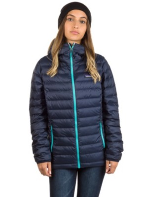Patagonia Down Sweater Hooded Outdoor Jacket navy blue w / strait blue Gr. L