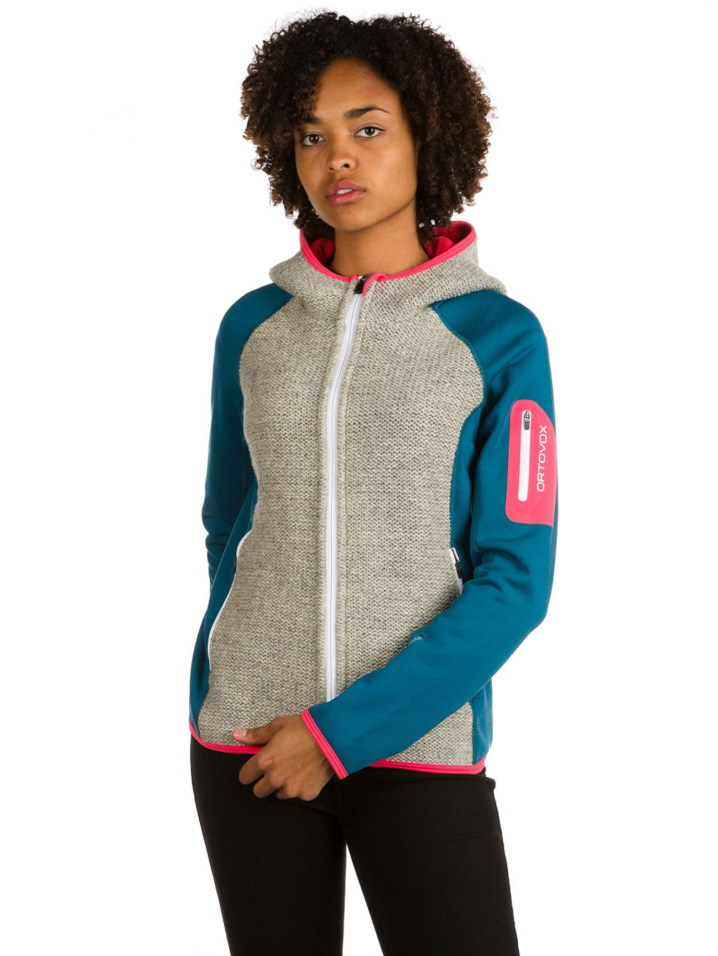 Plus Classic Knit Hooded Fleece Jacket