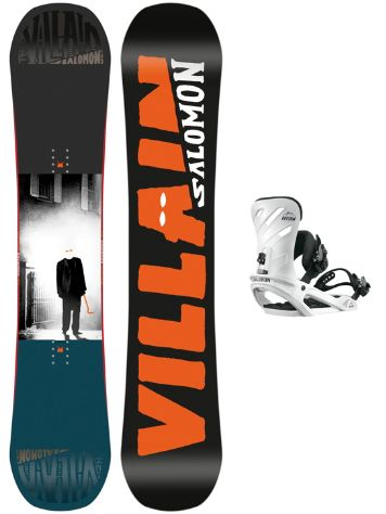 Salomon The Villain Grom 143+Rhythm Wht S 2018 Boys Snowboard set