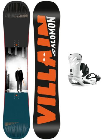 Salomon The Villain Grom 145W + Rhythm Wht 2018 Boys Snowboard Set