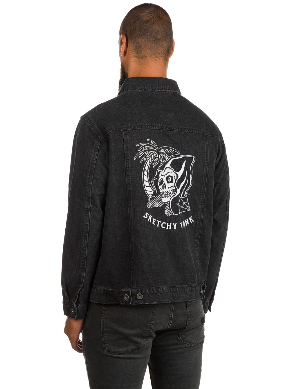 Black Acid Trucker Jacket