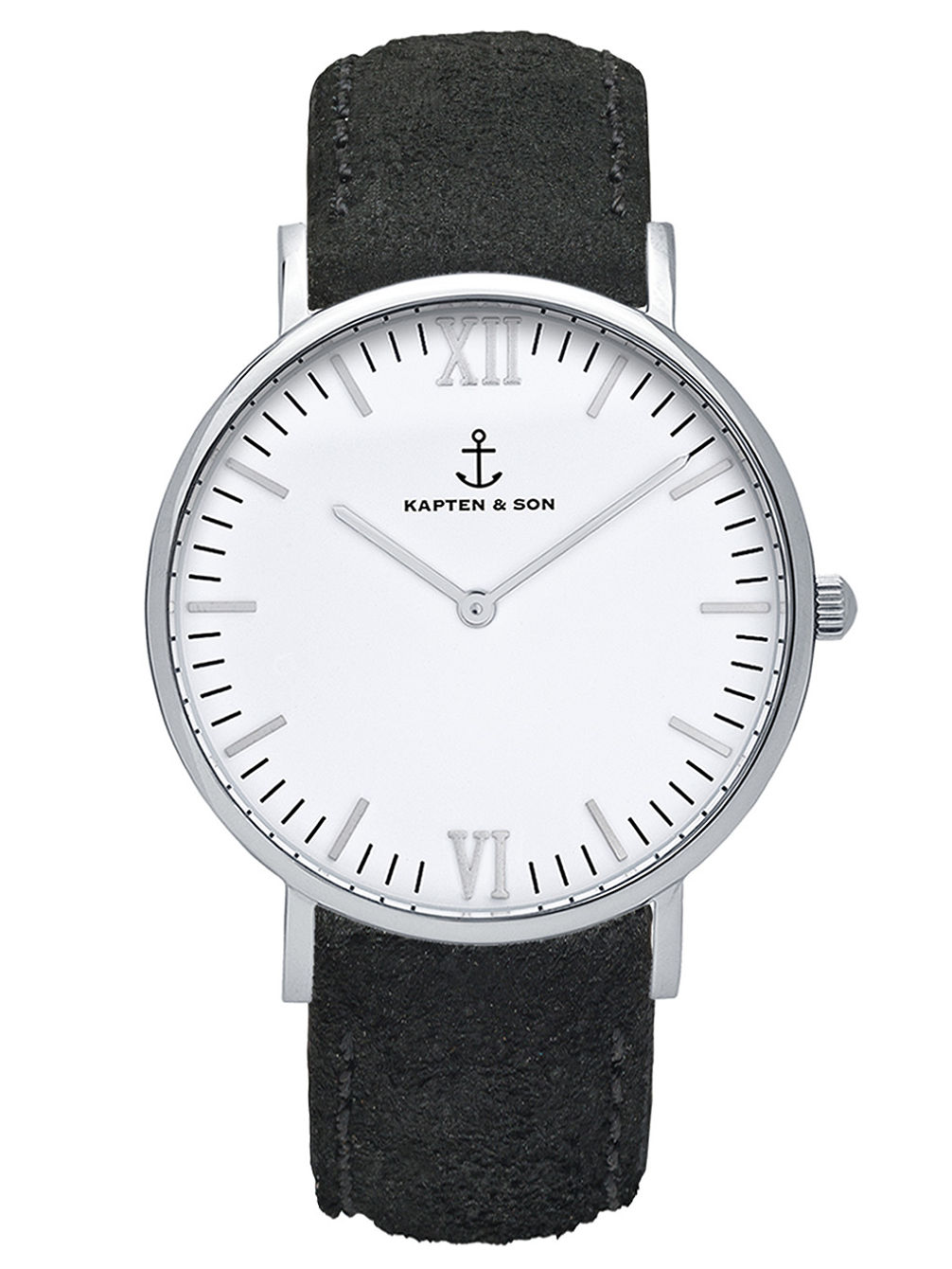 Campus Black Suede Leather White 40mm