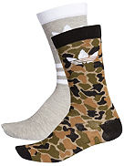Thin Crew Camo/Stipes 2Pk Calcetines