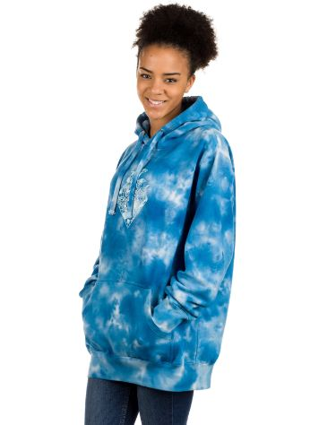 Pink Dolphin Waves Floral Blue Tie Dye Sudadera con capucha