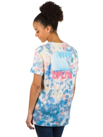 Pink Dolphin Waves Block Multie Tie Dye Camiseta