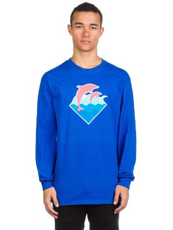 Pink Dolphin Wave Puff Print Long Sleeve T-Shirt