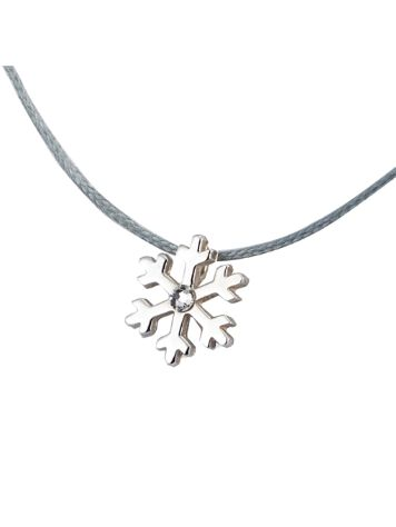 SilverSurf Snow Flake S Diamond Necklace