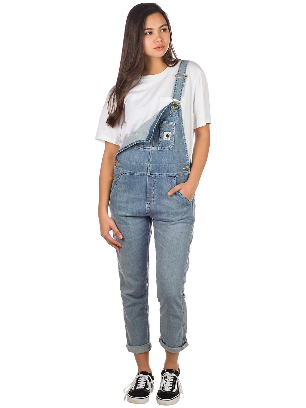 Hosen - Carhartt WIP Bib Overall Dungarees blue light stone washed  - Onlineshop Blue Tomato