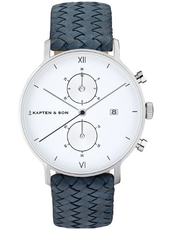 Kapten&Son Chrono Woven Leather White 40mm Uhr