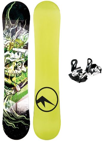 TRANS Pirate Jr Green 130 + Elfgen Eco S Blk 2019 Boys Conjunto snowboard
