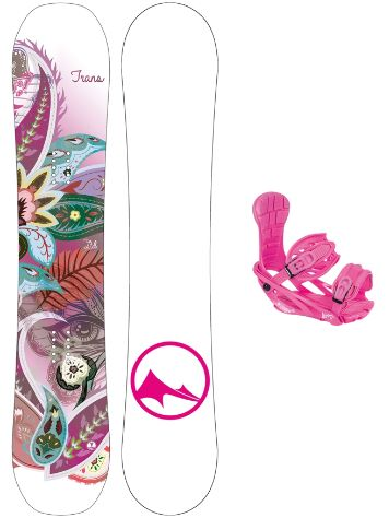 TRANS LTD White 152 + Elfgen Star Pink M 2019 Snowboard Set
