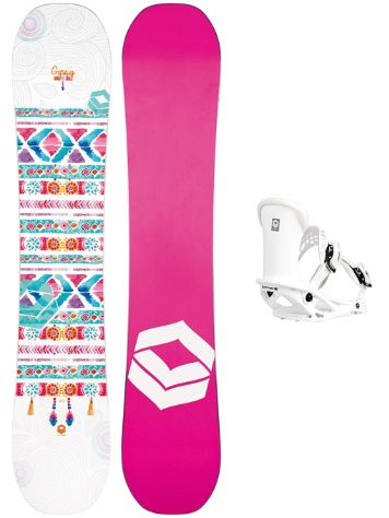 FTWO Gipsy 152 + Pipe M White 2019 Snowboard Set