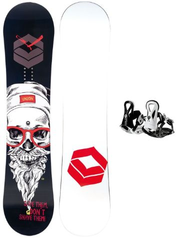 FTWO Union 135 + Pipe Rookie S Black 2019 Boys Snowboard Set