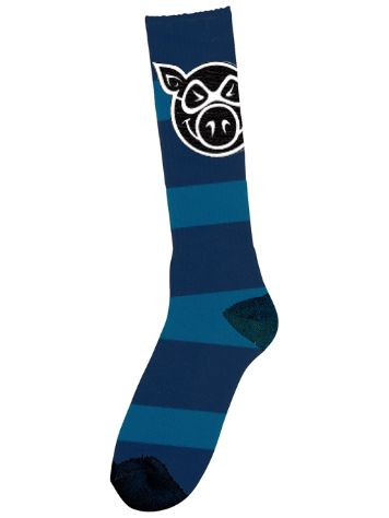 Pig Wheels Head Striped Tall Socken