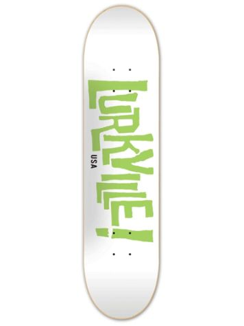 Lurkville Logo White Green 8.38'' Skateboard Deck
