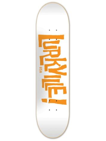 Lurkville Logo White Orange 8.38'' Skateboard Deck