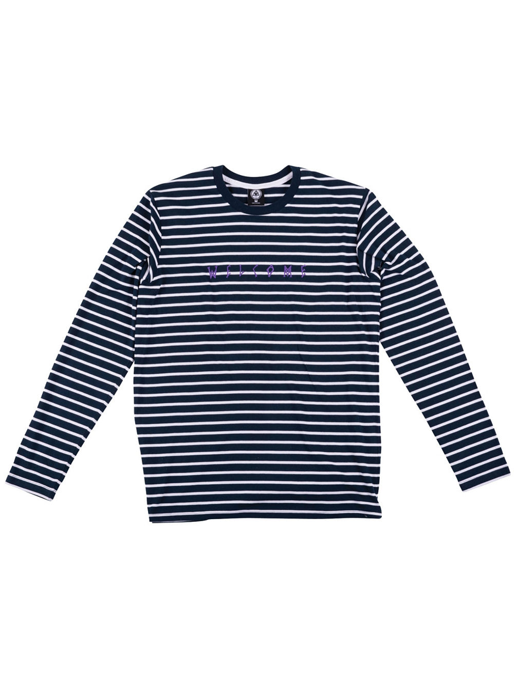 Scrawl Embroidered Striped T-Shirt LS