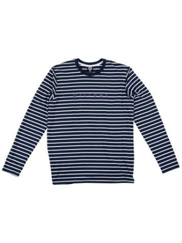 Welcome Scrawl Embroidered Striped T-Shirt LS