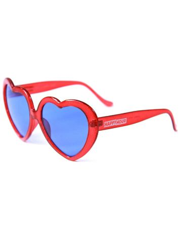 Happy Hour Heart Ons Red Glitter Sonnenbrille