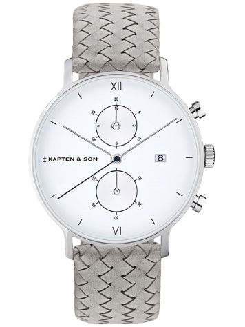Kapten&Son Chrono Grey Woven Leather