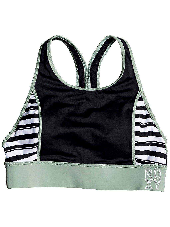 Roxy Fitness Crop Top Bikini Top true black beetle stripes