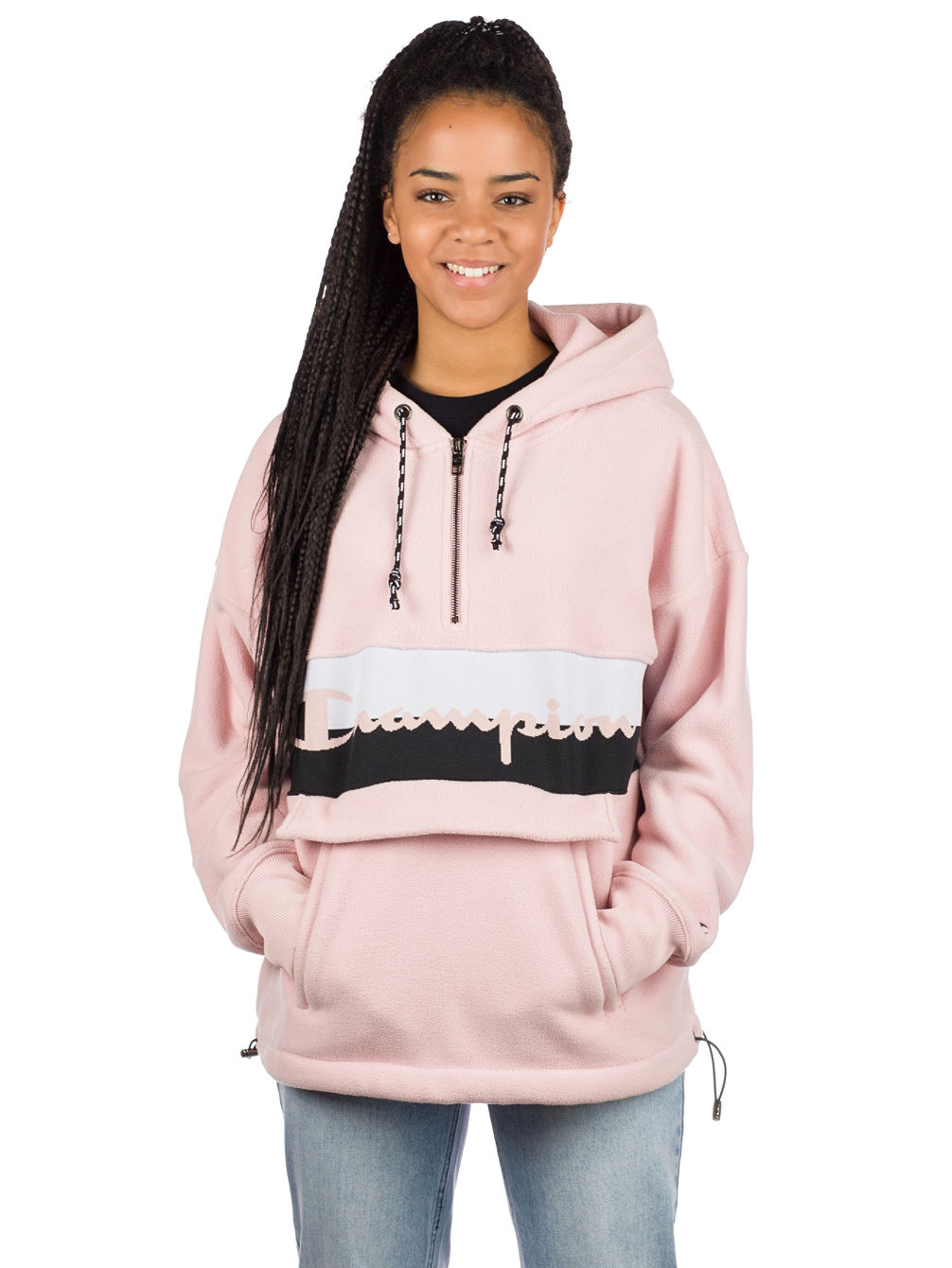 Polar Fleece Hooded Half Zip Jacket