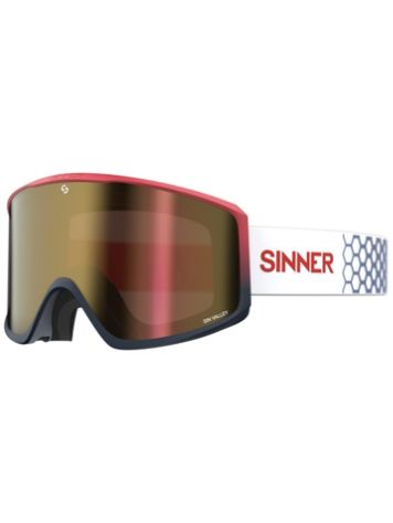 Sinner Sin Valley Matt Red/Dk Blu (+Bonus Lens) Maschera