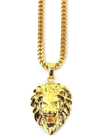 Gold Gods Inch Rope Micro Lion Head Necklace
