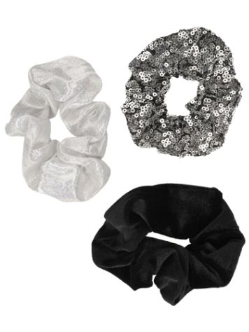 Stone and Locket Blk/Wht Party 3Pk Scrunchie