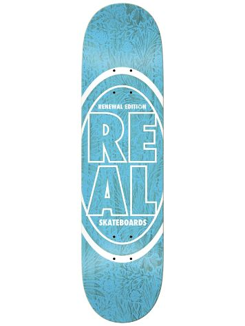 "Real Stacked Oval Floral Blue 8.25"" Skateboard De"