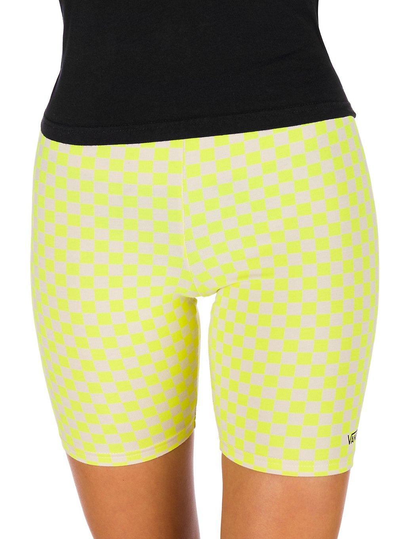 Vans Quantum Bike Shorts lemon tonic checkerboard