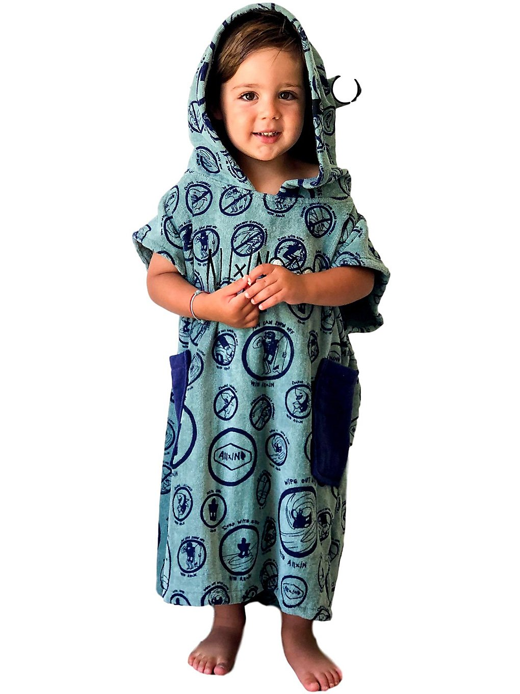 All-In Little Dragon Baby Surf Poncho navy