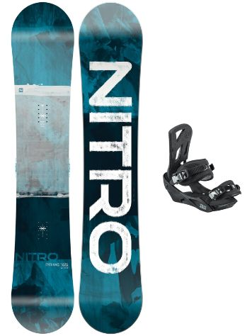 Nitro Prime Overlay Wide 165 + Staxx L 2021 Snowboardsæt