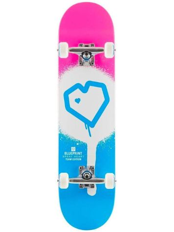 "Blueprint Spray Heart Full Blue/Pink 7.75"" Skateboard"