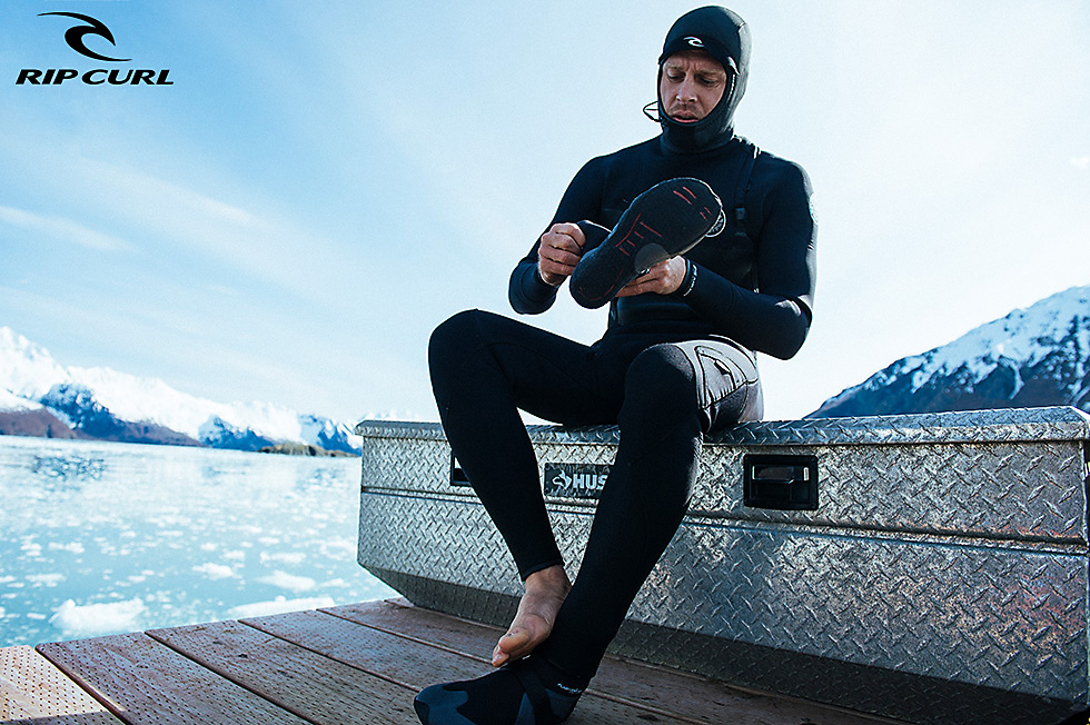 Booties and hood for cold water surfing by Rip Curl, photographer: Corey WIlson