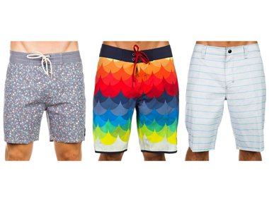 Different lenghts of men's boardshorts in comparison