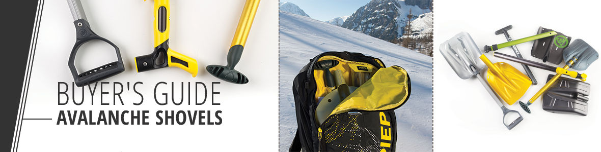 Avalanche shovels for use as a hoe, rescue sled or snow anchor