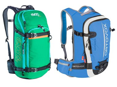 Tour rugzak van  Evoc 20 Liter, Ortovox 35 Liter en The North Face 50 Liter