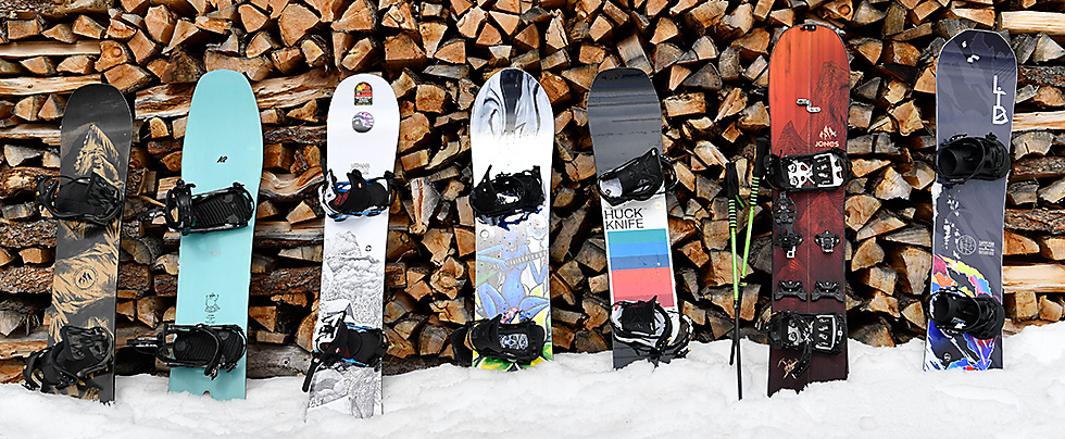 Snowboards by Jones, K2, Gnu and Lib Tech for different riding styles