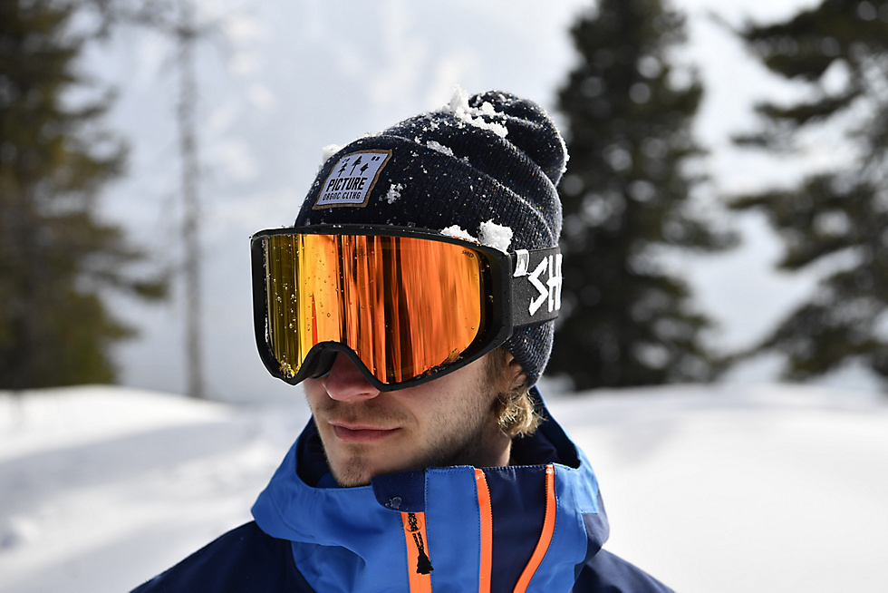 Lenses, frame and headband of a Shred snowboard goggle