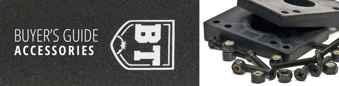 Skateboard Accessories from Griptape to Hardwware via Riser and Shock Pads