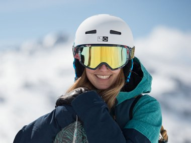 Woman wearing a helmet for winter sports