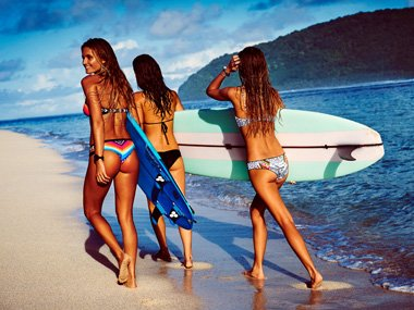 Surfergirls in Rip Curl Bikinis