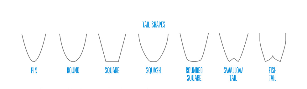 Surfboard Tails from Pin to Squash to Fish Tail