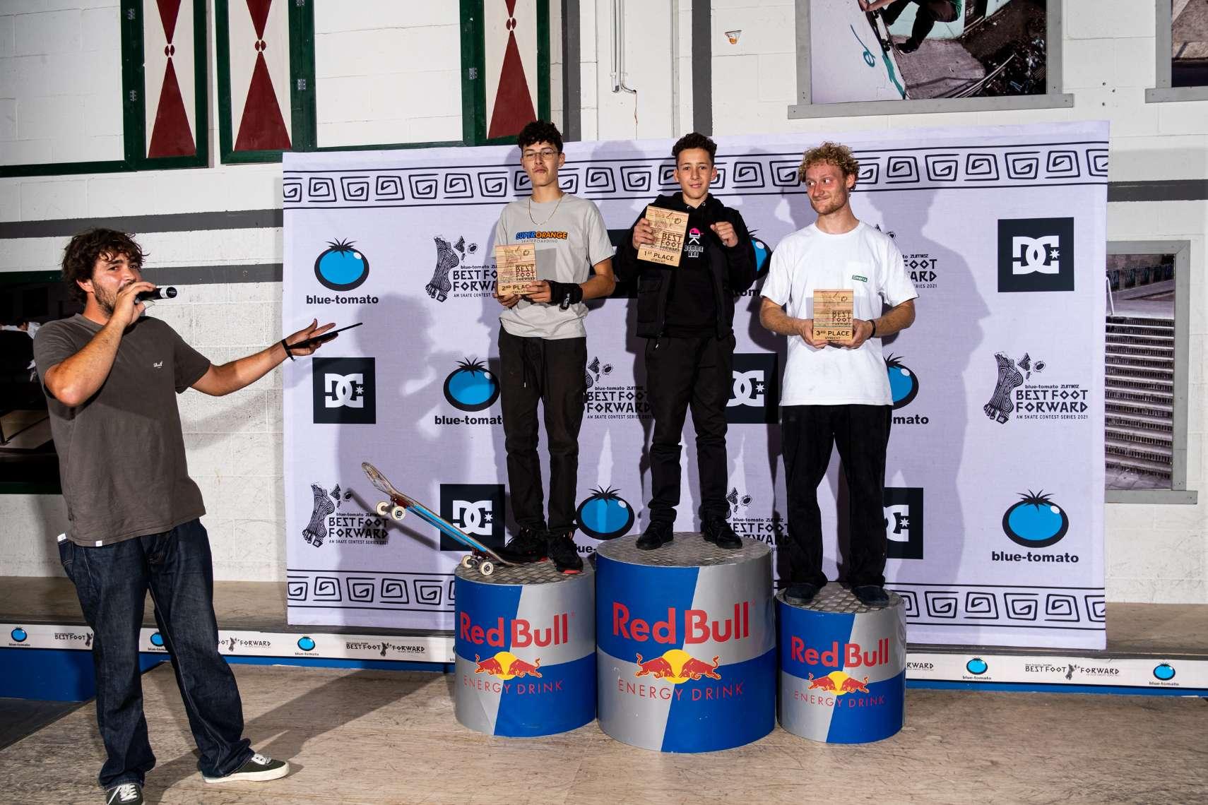 Top 3 men: 1st place Djai Marchen, 2nd place Daniel Moragues, 3rd place Teun Janssen